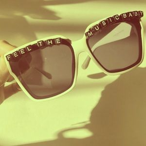 Handmade white music festival sunglasses cat eye